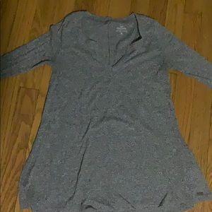Gray Long Sleeve Flare Shirt